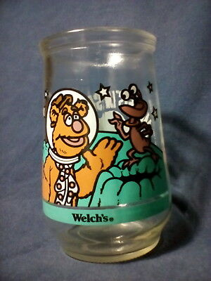 WELCH'S Jelly Jar Glass #3 Muppets in Space FOZZIE BEAR GETS A GIGGLE 1998 VG