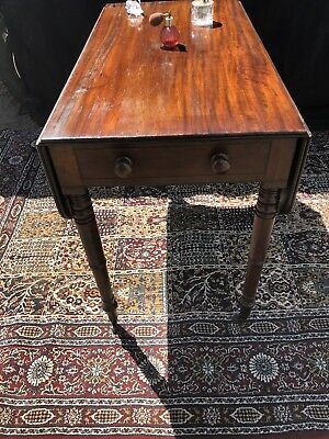 George Mahogany Pembroke Table Drop Leaf Ebony Inlay