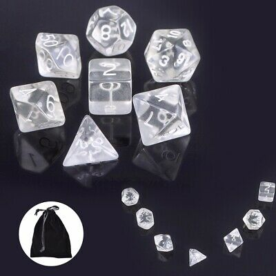 7Pcs/Set Transparent White Polyhedral Dices Gaming DND RPG MTG Game With Bag