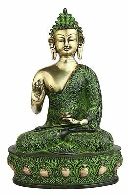 Antique Bronze Buddha Sitting On Base Tibet Chinese Medicine Shakyamuni 11""