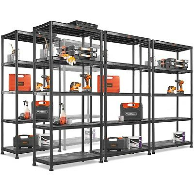 VonHaus Large Plastic Garage Shelving - Lightweight Racking 4 and 5 Tier