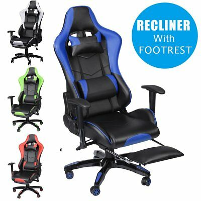 Gaming Racing Chair Office Executive Recliner Adjustable PU Leather W/ Footrest