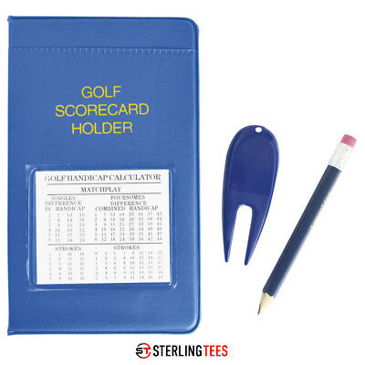 Longridge Golf PVC Scorecard Holder - + Handicap Calculator , Pencil & pitchfork
