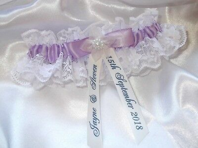 Personalised Lilac Wedding Garter With A Dash Of 'something Blue'
