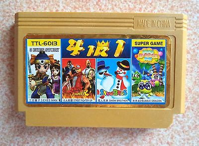 4 in 1. 3 Eyes Man, Street Fighter, Bubble Dragon, Snow Bros. Dendy Yellow Game.