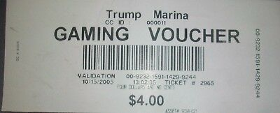 Donald Trump Marina Casino (Atlantic City, NJ) $4 Gaming Voucher dated 10/15/05