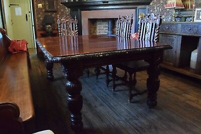 Antique Large Carved Solid Oak Extending Dining Table - Victorian