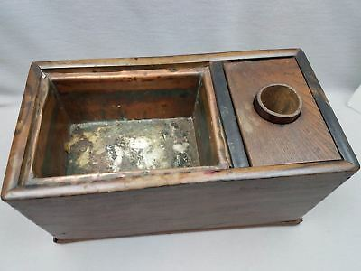 Antique Table Top Japanese Hibachi Yakitori Cooker Box Copper Lined 14x7.5x7""