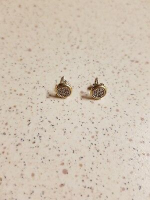 Silver diamonds and solid gold earrings 9ct 375
