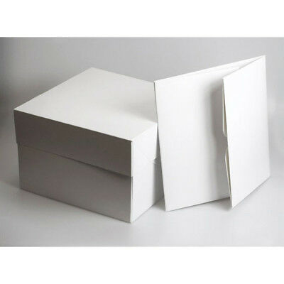 Fold Flat White Square Cardboard Cake Boxes / Cupcake Box - Various Sizes