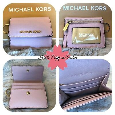 e9a508b96506 Nwt Michael Kors Leather Jet Set Travel Card Case Id Key Holder In Blossom