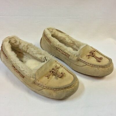 09f21f5c7f8 LADIES UGG AUSTRALIA 5466 Suede Moccasins Slippers Women Sz 9 Brown ...