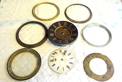 "Antique  ""8 in No.""   Clock Fronts and Bezels. For Spares or Repair"