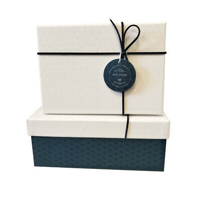 Luxury Rigid Wedding Gift Party Box Set Lift Off Lid With Bow And Tag-Set of 3