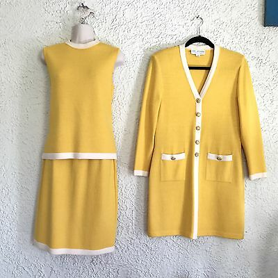 St. John Collection By Marie Gray 3 pc Yellow Skirt Suit Size 2 Santana Knit
