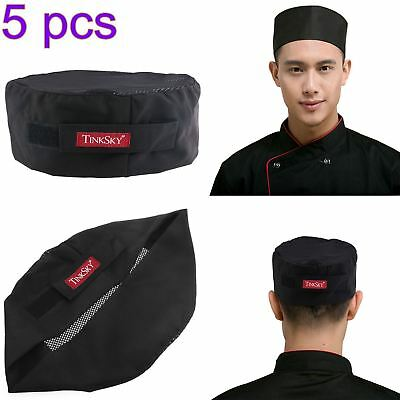 5 Pack Pro Breathable Mesh Top Skull Cap Catering Chefs Hat w/Adjustable Strap