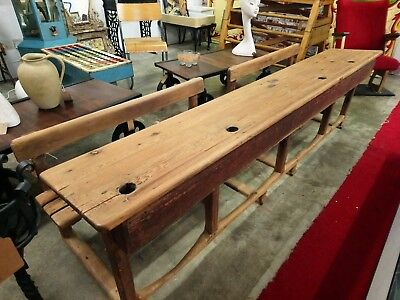 Antique School desk, Large french wooden school desk 4 seater, vintage,