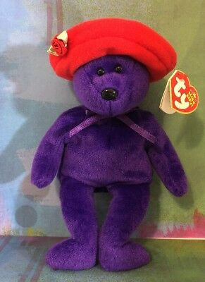 TY Beanie Babies Ruby The Bear (Red Hat Society) 2005 W/Swing Tag Retired 2006