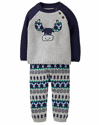 137a58583 NWT GYMBOREE MULBERRY & Pine Moose Sweater Pants Outfit Set Baby Boy ...