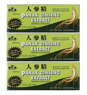 3 x ROYAL KING Panax Ginseng Extract (90 Bottle) Extra Strength 8000mg 13.8 ALC