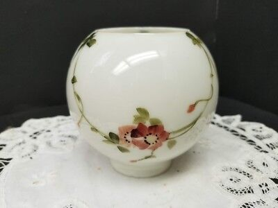 Antique Glass Opal White Globe Shade with Hand Painted Pink Floral Motif