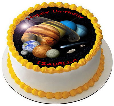 "Galaxy 7.5"" Happy Birthday Premium Edible Icing Cake Topper Can Personalise D2"