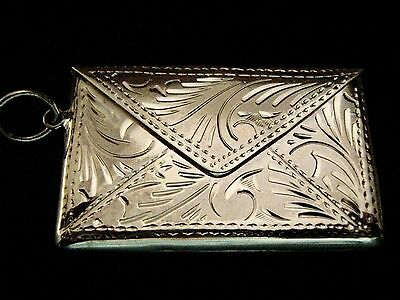 "Solid Silver envelope double stamp case photo holder Locket Fob 1"" Chatelaine"