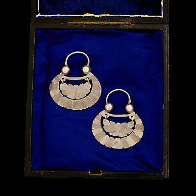 Antique Vintage Deco Sterling Silver Chinese Miao Ethnic Tribal Disc Earrings