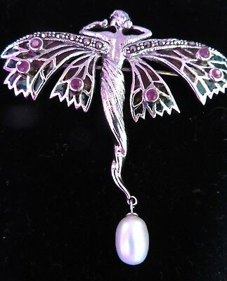 Sterling Silver Art Nouveau Stained Glass Goddess Angel Fairy Brooch Pendant NEW
