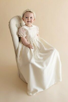 L@@k Isabella champagne lace christening gown 6- 9 months