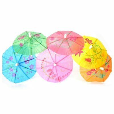 100 Mixed Paper Cocktail Umbrellas Parasols for Party Tropical Drinks Acces R1C8