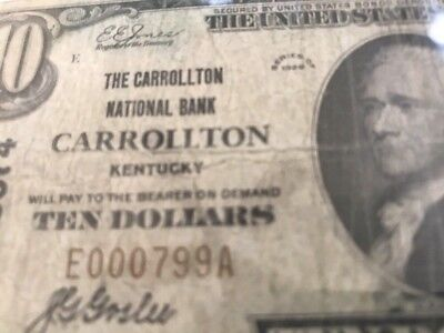 1929 $10 NATIONAL BANK CARROLLTON  KY KENTUCKY Ch 3074 RARE 8 KNOWN Serial #799