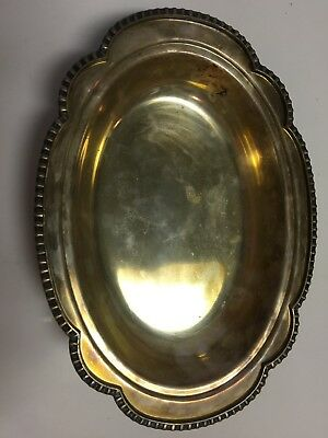 """Vintage Silver Plated 12"""" Tray with Decorative Handles"""