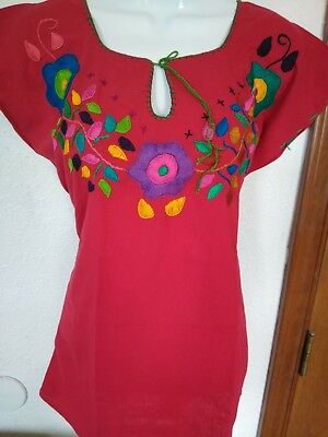 f1d594500c72b COLOR MEXICAN Hand Embroidered BLOUSE Floral PUEBLO Women Oaxaca Top PEASANT