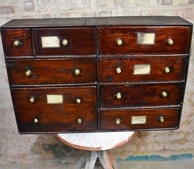 19th Century Antique Bank Of Drawers Collectors Apothecary Spice Cabinet