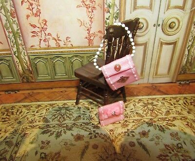 Dollhouse Miniature Ladies Handbag Set - Pink
