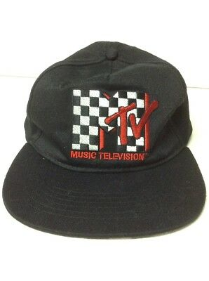 c2c283a6f80 MTV Music Television Black Checker Red Logo Snapback Hat Cap One Size Fits  All