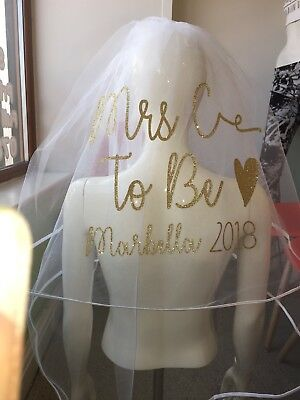 Personalised Veil Hen Party Glitter Date Destination Heart NEW Stunning Print