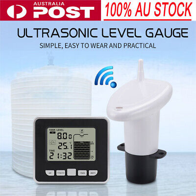 Wireless Ultrasonic Tank Liquid Level Meter w/ Temperature Sensor Transmitter EB