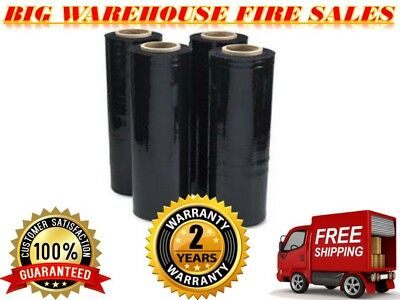 "18"" x 1500' 80 Ga 4 Rolls Pallet Wrap Stretch Film Hand Shrink Wrap 1500FT Black"