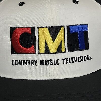 VINTAGE 90s Country Music Television Hat Snapback Cap Mens White CMT USA VTG