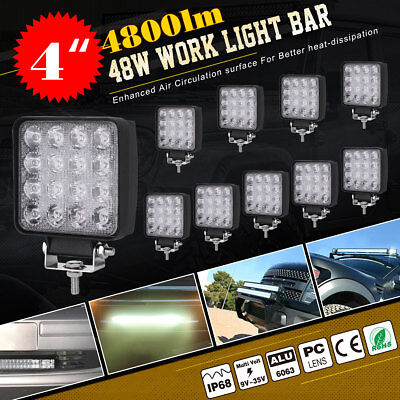 10X 48W SPOT LED Off road Work Light Lamp 12V 24V car boat Truck Driving UTE