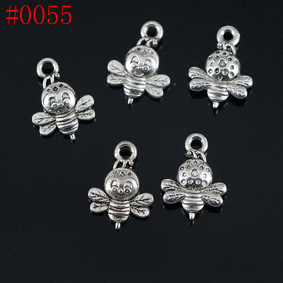20/200pcs 10x10mm Antique Silver Lovely Bees Charms Pendants LF