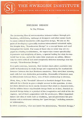 SWEDISH DESIGN Mid Century 1965 Brochure Swedish Institute Furniture, Houseware