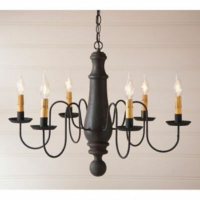 Country Primitive Farmhouse LARGE NORFOLK WOODEN CHANDELIER in BLACK USA Made