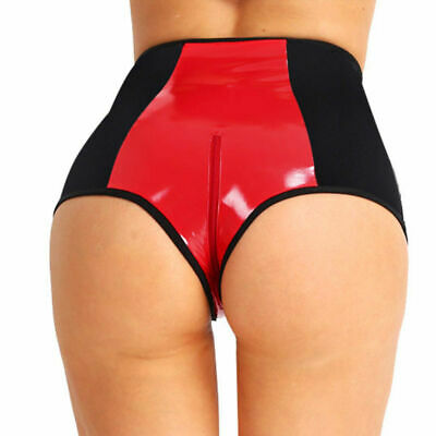 Women's Wetlook Latex Leather Briefs Shorts Zipper Crotch Panties Thong Bikini