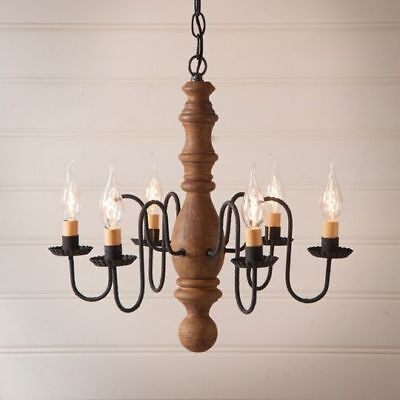 Country Primitive Farmhouse MANASSAS WOODEN CHANDELIER in MUSTARD USA Made