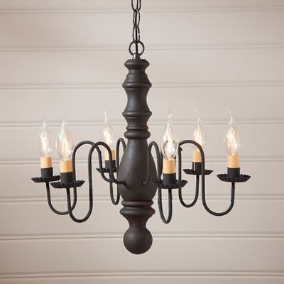 Country Primitive Farmhouse MANASSAS WOODEN CHANDELIER in BLACK USA Made