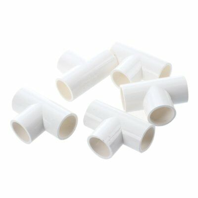 20mm PVC Tee 3 Way Water Pipe Tube Adapter Connectors White 5 Pcs M4G8