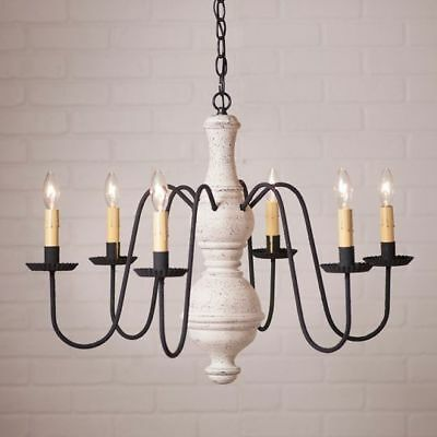 Country Primitive Farmhouse LARGE CHESTERFIELD WOOD CHANDELIER in WHITE USA Made